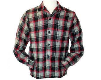 M/38, Vintage 1950's Loop Collar Wool Shadow Plaid Shirt, Button Down Shirt, Medium