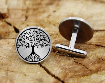 Engraved life of tree cufflinks, engraved tree, engraved plant cufflinks, custom personalized cufflinks tie clip, engraved wedding cufflinks