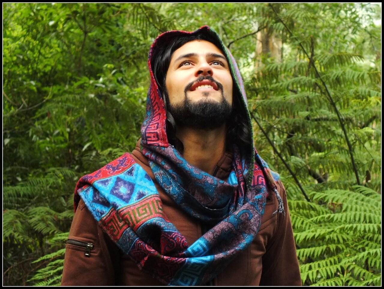 Hoodie Scarf Gypsy Wool Kashmiri Hoddie Scarf Bohemian