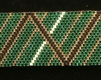 Green Chevron Peyote Bracelet