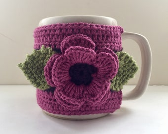 Crocheted Floral Cup Cosy, Cup Sleeve, Mug Cosy, Cup Cozy, Mug Sleeve, Mug Warmer - Pure Wool & Cotton Mix