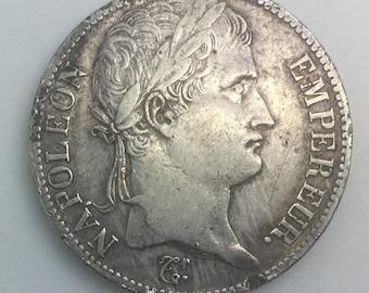 Napoleon Bonaparte France Emperor 1813 H Rochelle Mint 5 Francs Crown Sized Silver Historical Coin  Laurel Head Of Bonaparte  19th Century