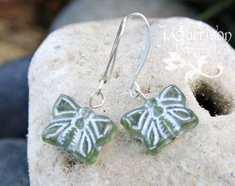 Glass Butterfly earrings -sage green Czech glass butterflys on silver plated brass ear  -Free Shipping USA