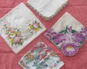 Four Charming Floral Vintage Handkerchiefs