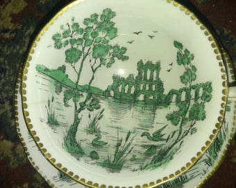 Royal Chelsea Tea Cup and Saucer  Asian theme Green and White