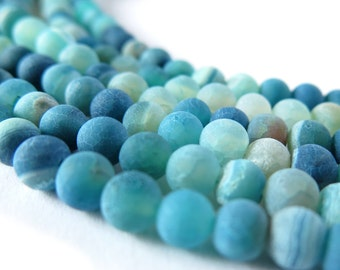 6mm Matte Finish Agate Gemstone Beads in Shades of Blue