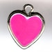 HEART Charm. Silver Plated Enamel. One Sided. Hot Pink.