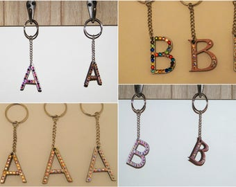 Wooden and Swarovski Crystal Letter Keyrings