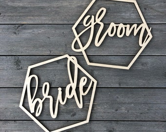 Bride and Groom Hexagon Chair Signs, Geometric Chair Sign, Wifey and Hubby Chair Back, Chair Decor, Signs for Chair, His and Hers