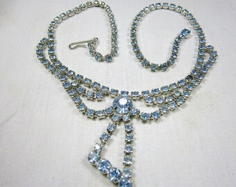 Art Deco Rhinestone Necklace / Light Blue Rhinestone Choker / 1940's / Light Sapphire Choker / Adjustable Necklace / Statement Necklace