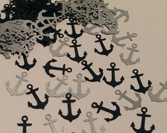 Anchor Confetti in Navy and Silver -Table scatter- 100 pieces - Nautical party decorations