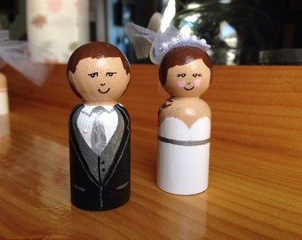 Wedding cake toppers wooden peg