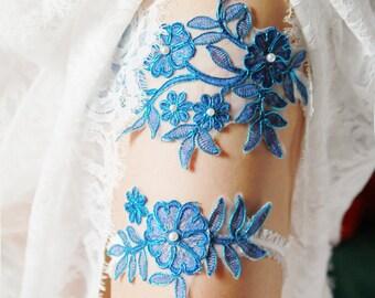 Wedding Garter Set Bridal Garter Belt - Electric Blue Garter Flower Garters Belts- Rustic Wedding Boho Bridal  - Something Blue