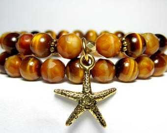 Tiger Eye Starfish Bracelet Set, Beach Bracelet, Nature Bracelet, Womens Beaded Bracelet, Czech Glass Bracelet, Set of 2 Bracelets