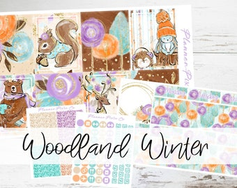 "STANDARD MATTE (New Layout) Deluxe Weekly Sticker Kit For Use With Erin Condren Vertical Planners - ""Woodland Winter"""