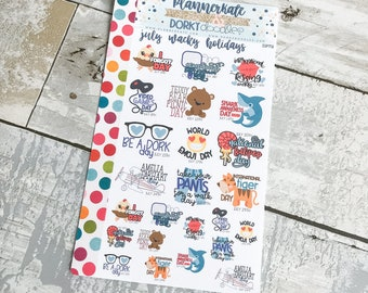 DP72 || JULY WACKY HOLIDAYS Planner Stickers - PlannerKate & DorkyDoodles (Removable Matte Stickers)