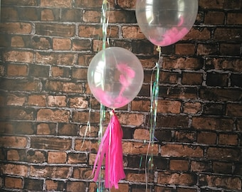 Feather Balloons/ clear feather balloon/ 3 pack/ set / tassel balloon/ iridescent