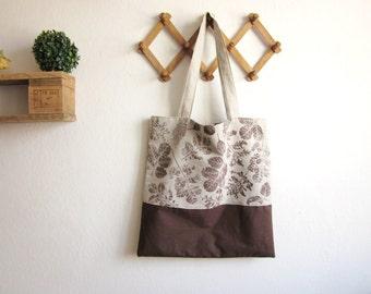 Big Linen Tote bag, hand printed tote bag, Shopping bag, Book bag, Linen tote bag, brown bag, hand printed leaves, hand printed linen