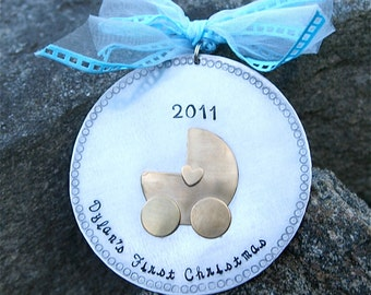 Personalized Baby's First Christmas Ornament - Hard Anondized Aluminum - LARGE 3 inch disc