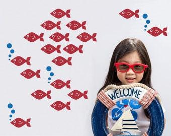 Baby Fish Wall Decals, Ocean Under-the-Sea Nursery Kids Underwater Sea Life Cute Aquarium Nautical Room Decor: SWIM LEFT