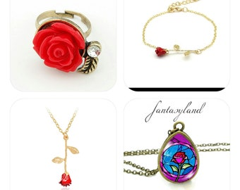 The Beautiful and the Beast pendant necklace bracelet Red rose ring