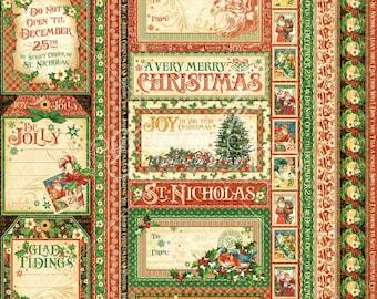 Graphic 45, St. Nicholas, Season's Greetings, 12 x 12 Single Sheet, Retired