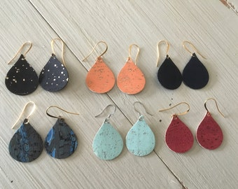 Cork teardrop earrings/small cork earrings/cork earrings/lightweight earrings/statement earrings/boho/dangle earrings/gifts for her
