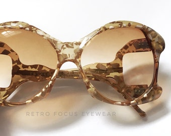 French 70's Oversized Non Prescription Mosaic Dirty Blonde Sunglasses Made in France Eyewear Glasses Eyeglasses Frames Vintage