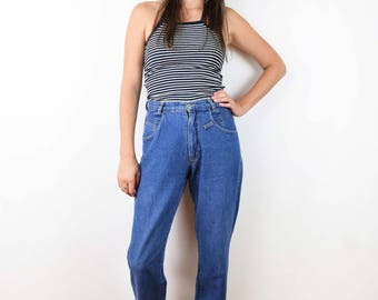 90s High Waist Mom Jeans Vintage 80s eighties nineties Carrera grunge hippie boho women blue jeans medium size 4 6 retro