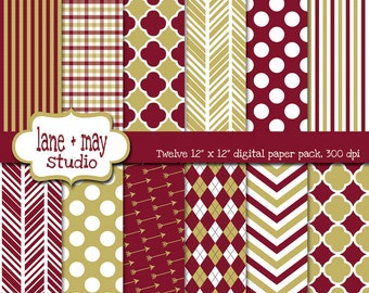 digital scrapbook papers - garnet and gold - INSTANT DOWNLOAD