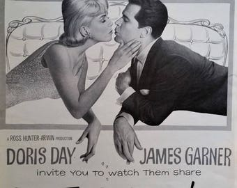 "Doris Day Movie Poster ""Thrill of it All"" James Garner 1963 Jealous Husband Feminist Career Woman Funny Love Story 13 x 10 Ready to Frame"