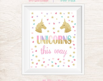 Unicorns This Way Sign, Unicorn Party Sign, Printable Sign, Unicorn Birthday, Unicorn Sign
