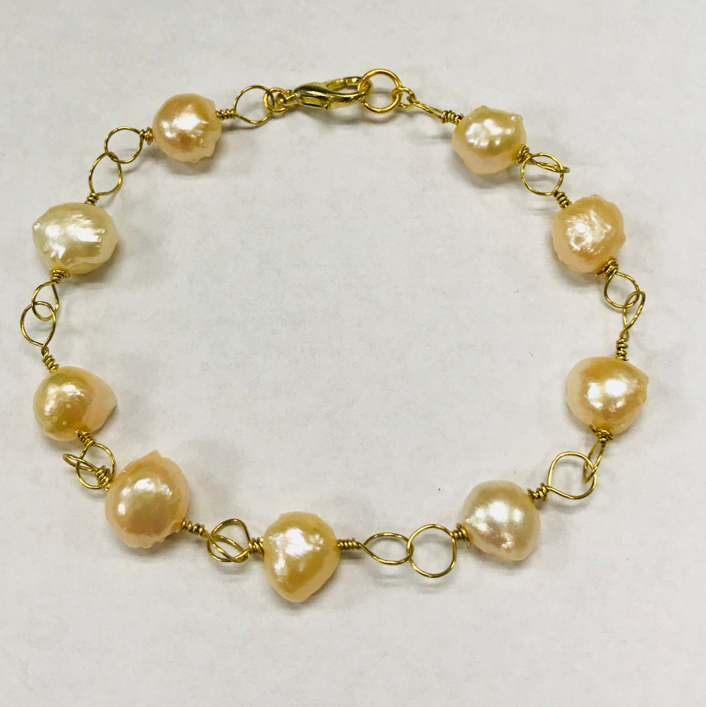 Delicate Freshwater Pearl and Gold Plated Wire Bracelet