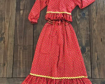 Vintage Her Majesty red floral top and matching maxi skirt. Girls vintage outfit. Size 7.