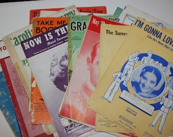 Lot of 24 Vintage Piano Music Sheets