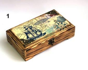 Cash box Money box Wood box Jewelry box Wood money box Saving box Credit card case Business card holder Wooden box Birthday gift Man gift