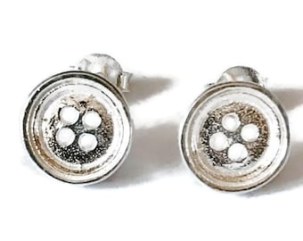 Sterling Silver Button Stud Earrings/Highly polished/Gifts/wedding/bridesmaid