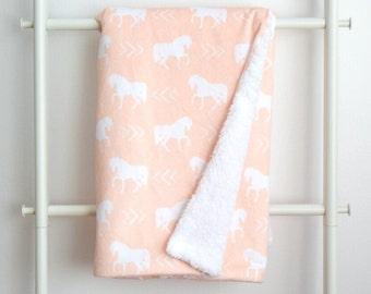 Sherpa Cuddle Blanket - Horses on Peach Pink Minky backed in Sherpa