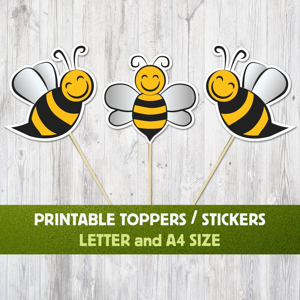 Bee Cupkace Toppers Bee Stickers Cupkace Toppers Printable