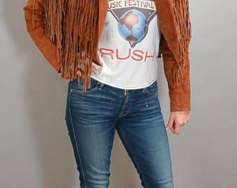 Suede Fringe Jacket// Hippie Fringe Jacket// 80s Cropped Suede Jacket (F1)