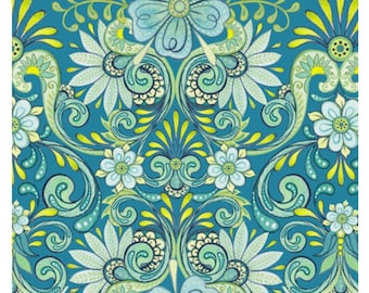 Lydia Floral Teal Damask Floral Fabric By Nicole Tamarin For Quilting Treasures Cotton Fabric Sold By The Half Yard
