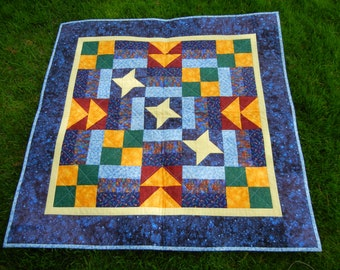 Starry nights baby quilt or wall hanging - free shipping