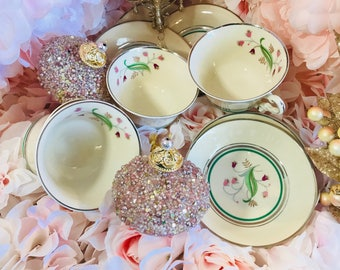 12 Piece Set Of Coralbel Old Ivory Syracuse China OPCO - Tea Cup And Saucer Sets - Includes Dessert Bowls - Green And Platinum