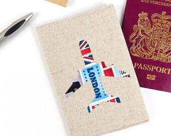 Mens Passport Holder British Icons Boys Passport Cover UK London Fabric Vegan Passport Case Boyfriend Travel Gift