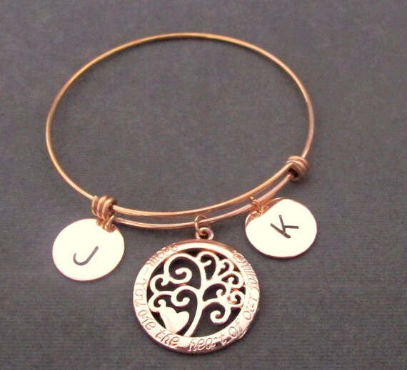 Family Tree Bracelet,Mother,Mom,Grandmother,Family Jewelry,Personalized Gift,Rose Gold Bangle,Mother's Day Gift,Rose gold, Free Shipping USA