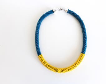 Yellow Rope Necklace // Summer Necklace // Teal Beaded Necklace // Gift Idea // Crochet Rope Necklace // Statement Necklace // Gift Guide