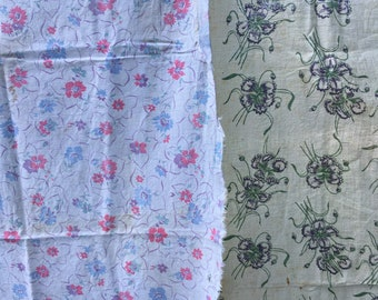Vintage cotton feed sacks , flour sacks, two  sweet floral prints