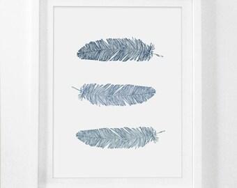 Feather Wall Art, Navy Blue Wall Art, Blue Prints, Feather Print, Feather, Bohemian Wall Art, Wall Art, Navy Blue, Blue Feather Printable