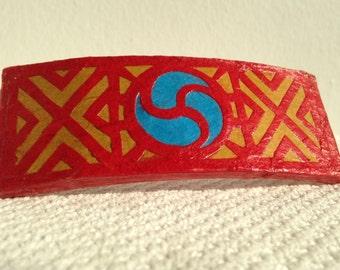 Red Hanji French Barrette Hair Pin OOAK Traditional Korean Design Stainless Steel Barrette Handmade