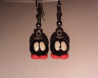Handmade Bob-omb Polymer Clay Earrings